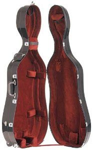 Bobelock 2000W Fiberglass Black/Wine 4/4 Cello Case with Wheels